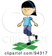 Royalty Free RF Clipart Illustration Of A Little Asian School Girl Playing Hopscotch On A Playground