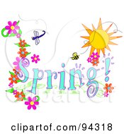Royalty Free RF Clipart Illustration Of A Spring Time Greeting With A Dragonfly Bee And Flowers Under The Sun