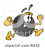 Clipart Picture Of A Hockey Puck Mascot Cartoon Character Running