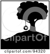 Royalty Free RF Clipart Illustration Of A Silhouetted Tire Swing Hanging From A Tree On A Hill by Pams Clipart