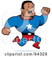 Royalty Free RF Clipart Illustration Of A Black Male Action Hero Running In A Blue Suit