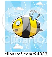 Royalty Free RF Clipart Illustration Of A Flying Bee In A Cloudy Blue Sky