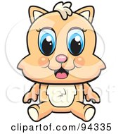 Royalty Free RF Clipart Illustration Of A Cute Blue Eyed Kitten Sitting