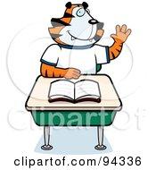 Tiger Student Raising His Hand At A Desk by Cory Thoman