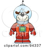 Dog Astronaut In A Red Space Suit