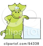 Royalty Free RF Clipart Illustration Of A Triceratops Character Holding Up A Blank Sign by Cory Thoman