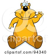 Royalty Free RF Clipart Illustration Of A Chubby Cat Sitting And Waving