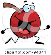 Royalty Free RF Clipart Illustration Of A Running Cherry Face by Cory Thoman