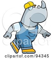 Royalty Free RF Clipart Illustration Of A Construction Worker Rhino In Overalls