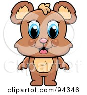 Royalty Free RF Clipart Illustration Of A Cute Baby Bear With Blue Eyes