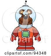 Royalty Free RF Clipart Illustration Of A Bear Astronaut In A Red Space Suit