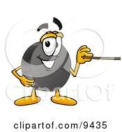 Hockey Puck Mascot Cartoon Character Holding A Pointer Stick