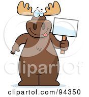 Royalty Free RF Clipart Illustration Of A Big Moose Standing With A Blank Sign