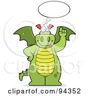 Royalty Free RF Clipart Illustration Of A Big Green Dragon With A Thought Bubble by Cory Thoman