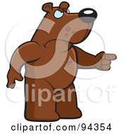 Royalty Free RF Clipart Illustration Of A Mad Bear Character Pointing His Finger
