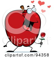 Royalty Free RF Clipart Illustration Of An Amorous Apple Holding A Rose