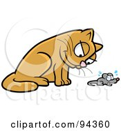 Royalty Free RF Clipart Illustration Of A Brown Cat Glaring Down At A Mouse