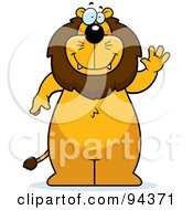 Royalty Free RF Clipart Illustration Of A Big Lion Standing And Waving