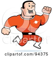 Royalty Free RF Clipart Illustration Of A Caucasian Male Action Hero Running In A Red Suit