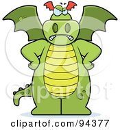 Royalty Free RF Clipart Illustration Of A Big Green Dragon Standing With His Hands On His Hips by Cory Thoman