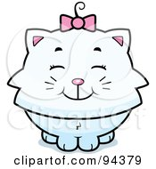 Royalty Free RF Clipart Illustration Of A Happy White Kitten Smiling