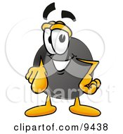 Clipart Picture Of A Hockey Puck Mascot Cartoon Character Pointing At The Viewer
