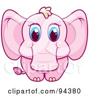 Royalty Free RF Clipart Illustration Of A Baby Pink Elephant With Big Blue Eyes