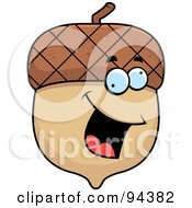 Royalty Free RF Clipart Illustration Of An Energetic Acorn Smiling by Cory Thoman