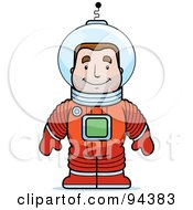 Royalty Free RF Clipart Illustration Of A Male Astronaut In A Red Space Suit by Cory Thoman