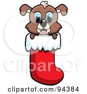 Royalty Free RF Clipart Illustration Of A Cute Puppy Dog Peeping Out Of A Christmas Stocking by Cory Thoman