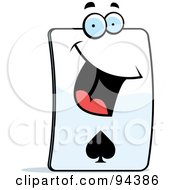 Royalty Free RF Clipart Illustration Of A Happy Card Of Spades Face by Cory Thoman