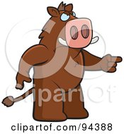 Royalty Free RF Clipart Illustration Of An Angry Boar Pointing His Finger