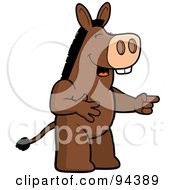 Royalty Free RF Clipart Illustration Of A Donkey Pointing And Laughing At Anothers Expense