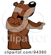 Royalty Free RF Clipart Illustration Of A Bear Pointing And Laughing At Anothers Expense