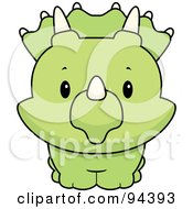 Royalty Free RF Clipart Illustration Of A Baby Triceratops Smiling Upwards by Cory Thoman
