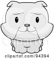 Royalty Free RF Clipart Illustration Of A Baby Bulldog Smiling Upwards