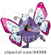 Royalty Free RF Clipart Illustration Of A Purple Butterfly Doing A Happy Dance by Cory Thoman