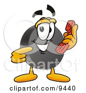 Clipart Picture Of A Hockey Puck Mascot Cartoon Character Holding A Telephone