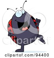 Royalty Free RF Clipart Illustration Of A Ladybug Doing A Happy Dance by Cory Thoman