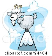 Royalty Free RF Clipart Illustration Of A Wild White Goat Atop A Mountain
