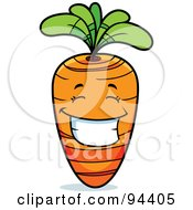 Royalty Free RF Clipart Illustration Of A Happy Grinning Carrot Face