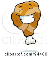 Royalty Free RF Clipart Illustration Of A Happy Grinning Chicken Drumstick Face