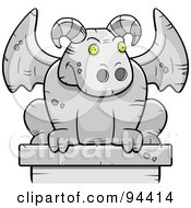 Royalty Free RF Clipart Illustration Of A Guardian Gargoyle Stone Statue