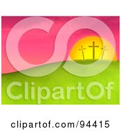 Royalty Free RF Clipart Illustration Of Three 3d Easter Crosses Against A Pink Sunset On A Hill by ShazamImages