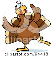 Royalty Free RF Clipart Illustration Of A Turkey Bird Doing A Happy Dance by Cory Thoman #COLLC94418-0121