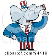 Royalty Free RF Clipart Illustration Of An American Elephant Politician by Cory Thoman