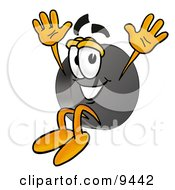 Clipart Picture Of A Hockey Puck Mascot Cartoon Character Jumping