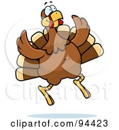 Royalty Free RF Clipart Illustration Of A Turkey Bird Jumping by Cory Thoman