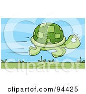 Royalty Free RF Clipart Illustration Of A Fast Tortoise Speeding By by Cory Thoman