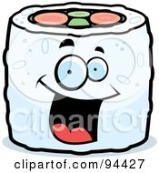 Royalty Free RF Clipart Illustration Of A Happy Smiling Sushi Face by Cory Thoman